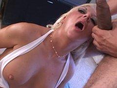 Blonde chick sucks a hard cock