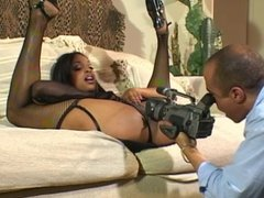 Big tits ebony in heat, goes after a hard cock