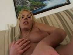 Teen hottie takes on 2 big cocks