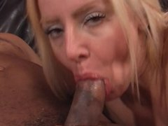 Blonde hottie loves a big black cock