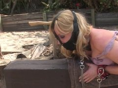 Mistress playing with her slave outdoors