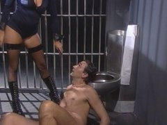 Policewoman hottie likes a big cock in jail