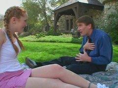 Redhead schoolgirl banged on the lawn