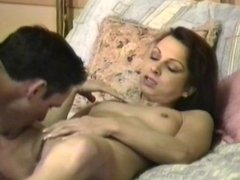 Small breasted slut rides cock