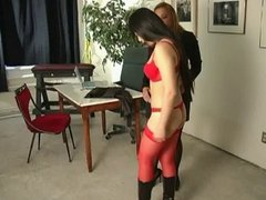 Strap on dildo humps Asian slut in latex