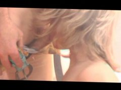Blond girl getting ass cock fucked