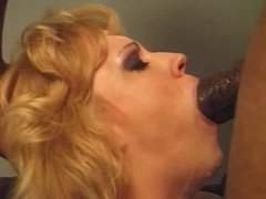 Blonde chick blowing black cock