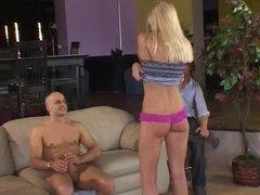 Voyeur watches a hot blonde being banged hard