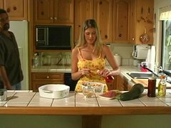 MILF hottie banged in the kitchen