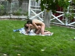 Sexy fuckers in raunchy outdoor sex