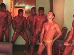 Gay dudes in the orgy fucking