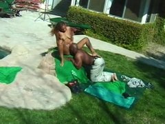 Black exhibitionist getting fucked outside