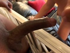 Brunette whore and black cock in her mouth