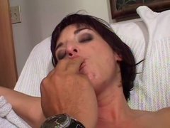Bitch licks cock and gets anal