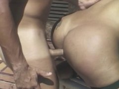 Tranny BJ and ass fucked by huge cock