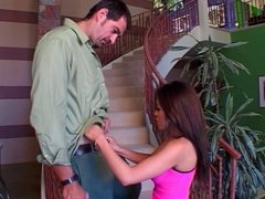 Hot chick banged on the staircase