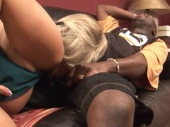 Hot blonde sucking big black cock