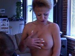 Blond babe fucking sex machine