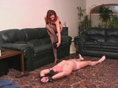 Sexy Redhead in nylons playing with her guy