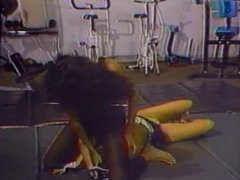 Lesbians wrestling in the gym