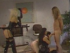 2 sexy mistresses get themselves 2 slave cocks