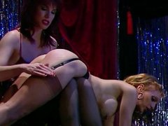 Lesbian strippers on stage spanking