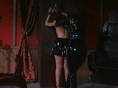 Mistress in leather spanking randy slut