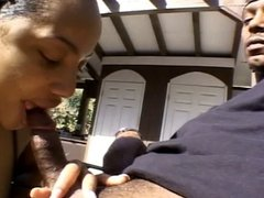 Ebony hos sucking black dick on the patio