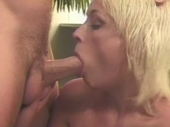 Blond girl sucks and drains cock