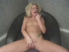 Blonde gets naked and rubs her pussy