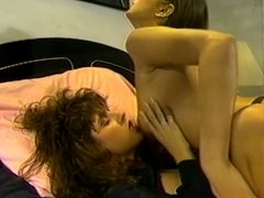 Brunette slut lick pussy and strap on fuck