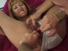 Blonde with a decent rack gets her pussy pounded
