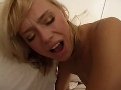 Small tits blonde hottie banged up both ends