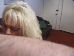 Blonde slut orally pleasures her man