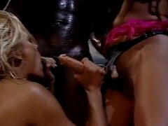 Blonde and brunette fucked by black dude