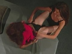Two hot lesbos joined by three guys in an orgy