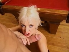 Blonde spits on and sucks a dick before taking it in the ass