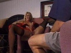 Blonde slut in red lingerie is a cock whore