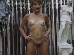 Cute and tall blonde lays on her back and spreads her pussy