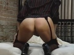 Brunette with an awesome butt and a hairy tight pussy strips naked