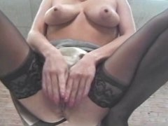 Horny blonde moans while playing with toys