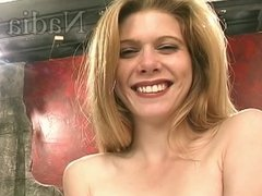 Sexy blonde babe cums hard from riding the sybian