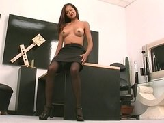 Asian in glasses poses nude and masturbates