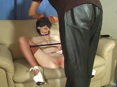 Cute teen gets her pussy teased by her master