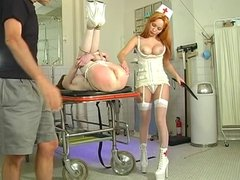 Bound and gagged cutie spanked by her doc and nurse