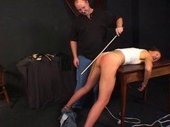Hottie with a nice rack spanked for her masters pleasure
