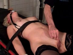 Blonde with a nice rack in BDSM session with her master