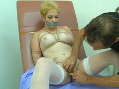 Big tits hottie gagged, bound and blindfolded for some BDSM action