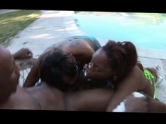 Ghetto fabulous ebony babes sucking cock