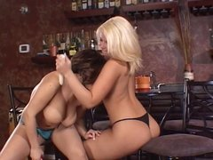 Lesbian hotties playing around.